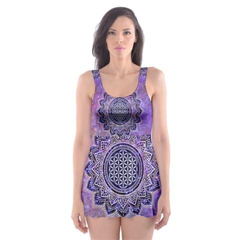Flower Of Life Indian Ornaments Mandala Universe Skater Dress Swimsuit