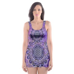 Flower Of Life Indian Ornaments Mandala Universe Skater Dress Swimsuit
