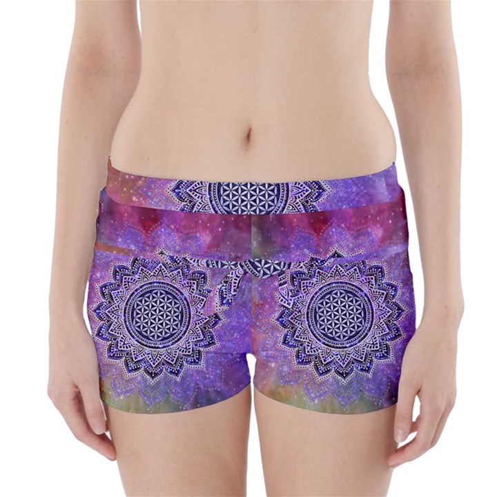Flower Of Life Indian Ornaments Mandala Universe Boyleg Bikini Wrap Bottoms