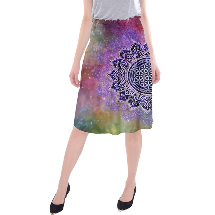 Flower Of Life Indian Ornaments Mandala Universe Midi Beach Skirt