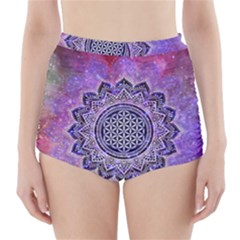 Flower Of Life Indian Ornaments Mandala Universe High Waisted Bikini Bottoms