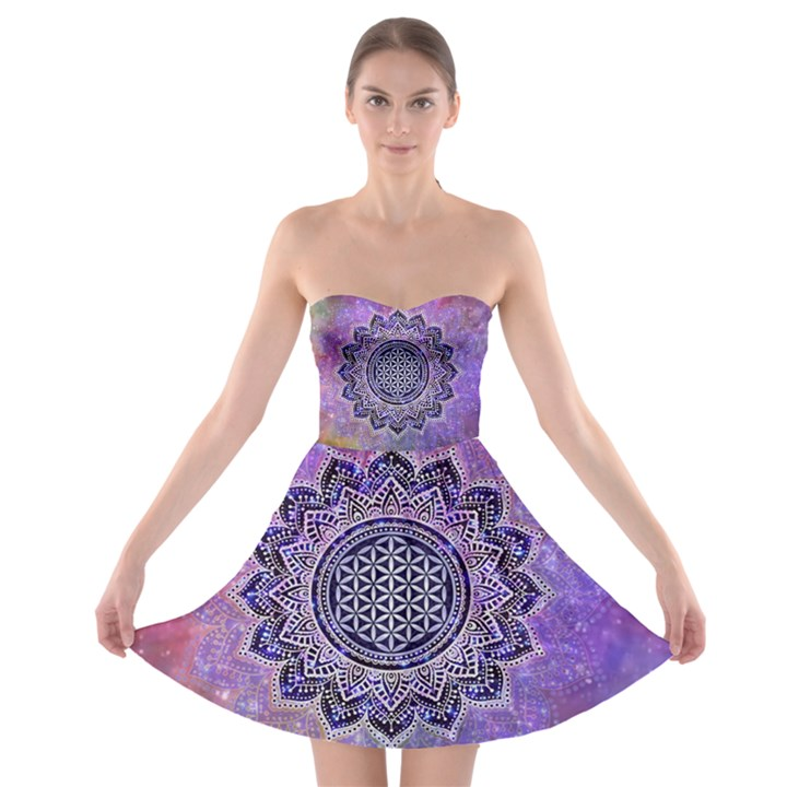 Flower Of Life Indian Ornaments Mandala Universe Strapless Bra Top Dress