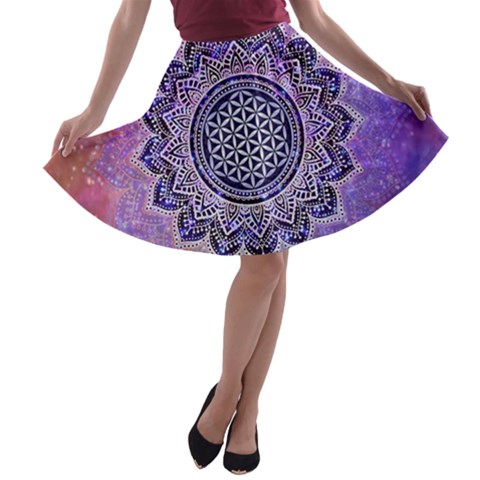 Flower Of Life Indian Ornaments Mandala Universe A-line Skater Skirt