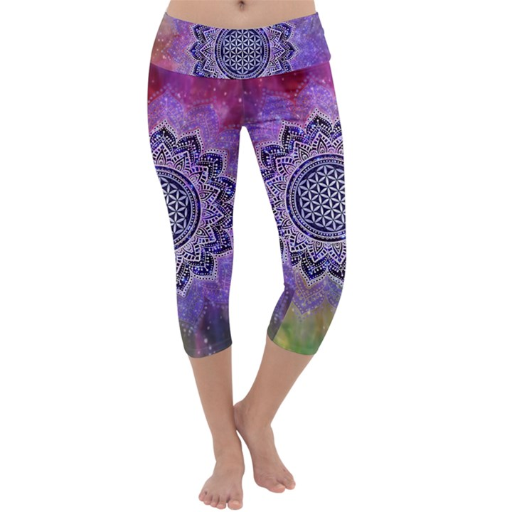 Flower Of Life Indian Ornaments Mandala Universe Capri Yoga Leggings