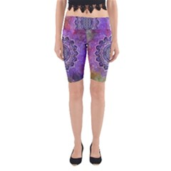 Flower Of Life Indian Ornaments Mandala Universe Yoga Cropped Leggings