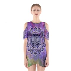 Flower Of Life Indian Ornaments Mandala Universe Cutout Shoulder Dress