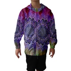 Flower Of Life Indian Ornaments Mandala Universe Hooded Wind Breaker (Kids)