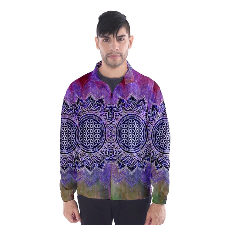 Flower Of Life Indian Ornaments Mandala Universe Wind Breaker (Men)