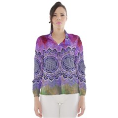 Flower Of Life Indian Ornaments Mandala Universe Wind Breaker (Women)