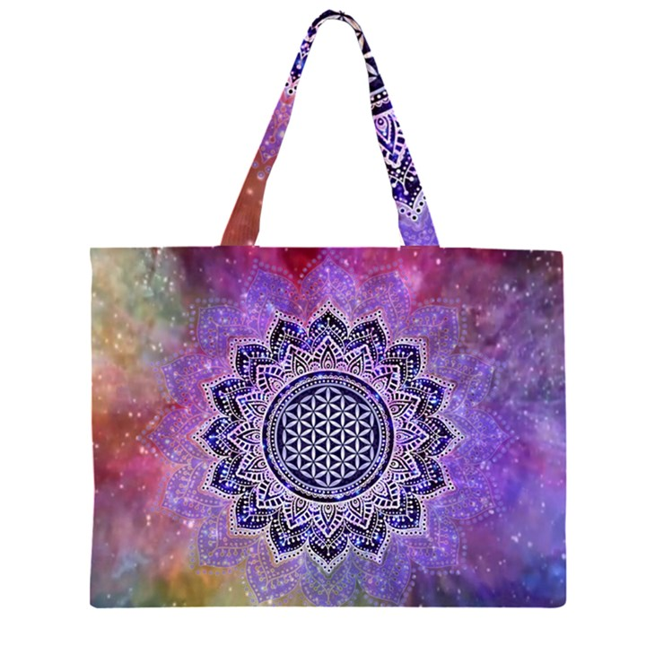Flower Of Life Indian Ornaments Mandala Universe Large Tote Bag