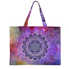 Flower Of Life Indian Ornaments Mandala Universe Zipper Large Tote Bag