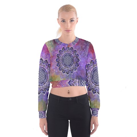 Flower Of Life Indian Ornaments Mandala Universe Women s Cropped Sweatshirt