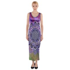 Flower Of Life Indian Ornaments Mandala Universe Fitted Maxi Dress