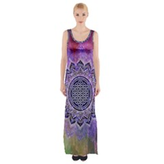 Flower Of Life Indian Ornaments Mandala Universe Maxi Thigh Split Dress