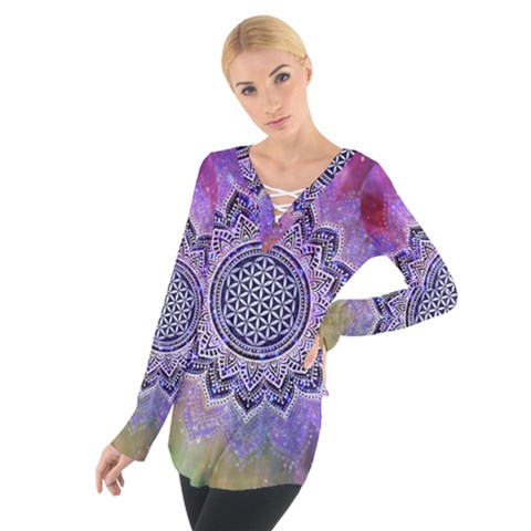 Flower Of Life Indian Ornaments Mandala Universe Women s Tie Up Tee
