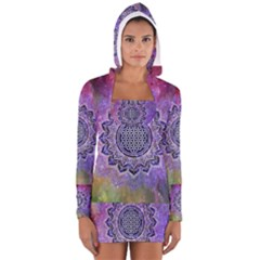 Flower Of Life Indian Ornaments Mandala Universe Women s Long Sleeve Hooded T Shirt
