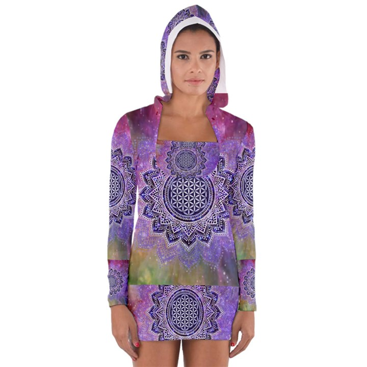 Flower Of Life Indian Ornaments Mandala Universe Women s Long Sleeve Hooded T-shirt