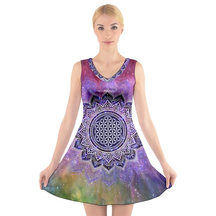 Flower Of Life Indian Ornaments Mandala Universe V-Neck Sleeveless Skater Dress