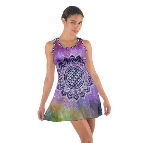 Flower Of Life Indian Ornaments Mandala Universe Cotton Racerback Dress