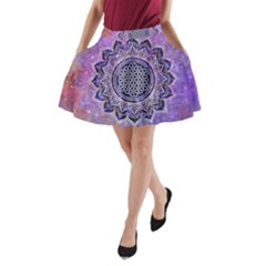 Flower Of Life Indian Ornaments Mandala Universe A Line Pocket Skirt