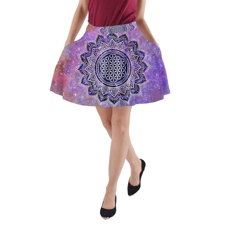 Flower Of Life Indian Ornaments Mandala Universe A-Line Pocket Skirt