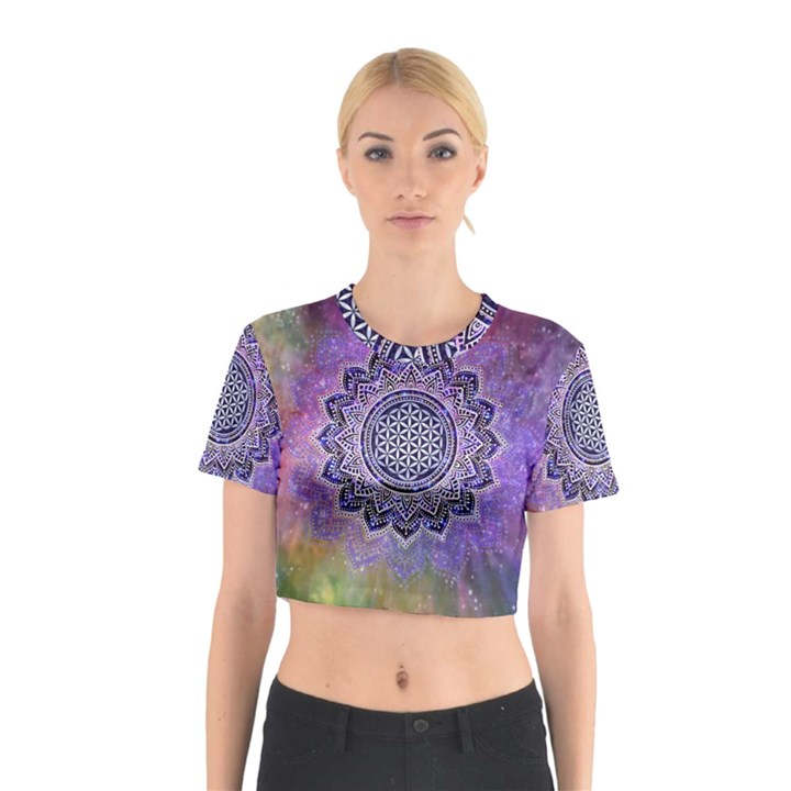 Flower Of Life Indian Ornaments Mandala Universe Cotton Crop Top