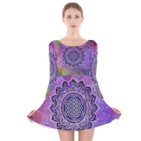 Flower Of Life Indian Ornaments Mandala Universe Long Sleeve Velvet Skater Dress