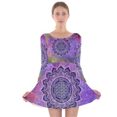 Flower Of Life Indian Ornaments Mandala Universe Long Sleeve Velvet Skater Dress