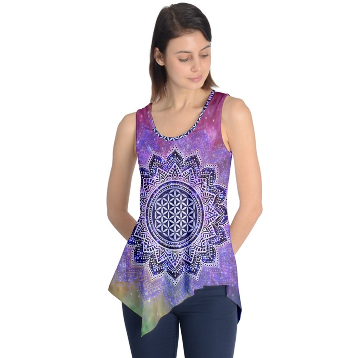 Flower Of Life Indian Ornaments Mandala Universe Sleeveless Tunic