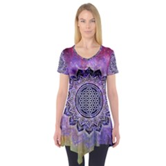Flower Of Life Indian Ornaments Mandala Universe Short Sleeve Tunic