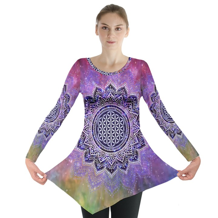 Flower Of Life Indian Ornaments Mandala Universe Long Sleeve Tunic