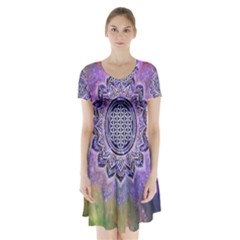 Flower Of Life Indian Ornaments Mandala Universe Short Sleeve V-neck Flare Dress