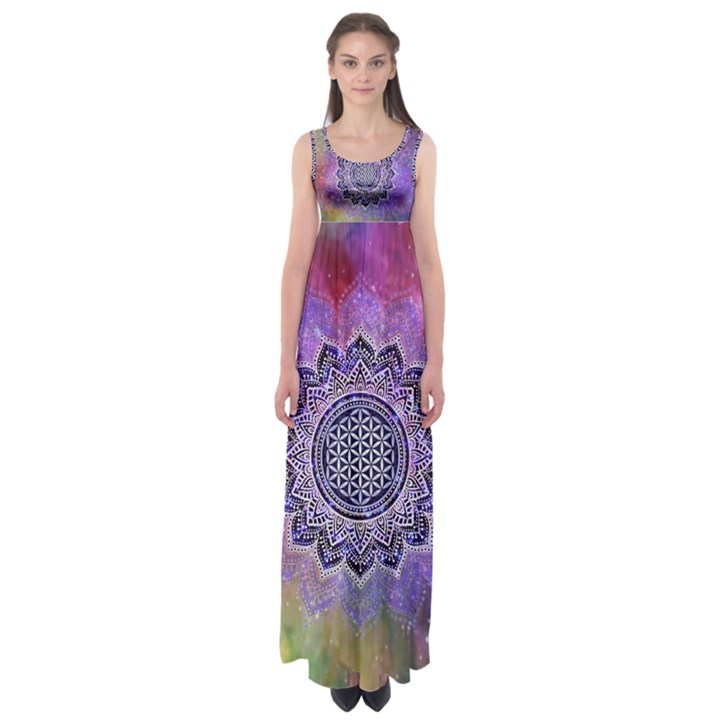 Flower Of Life Indian Ornaments Mandala Universe Empire Waist Maxi Dress