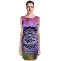 Flower Of Life Indian Ornaments Mandala Universe Classic Sleeveless Midi Dress