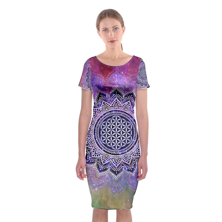 Flower Of Life Indian Ornaments Mandala Universe Classic Short Sleeve Midi Dress