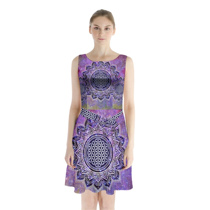 Flower Of Life Indian Ornaments Mandala Universe Sleeveless Chiffon Waist Tie Dress