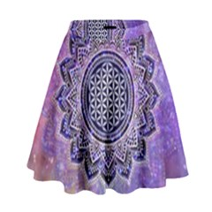 Flower Of Life Indian Ornaments Mandala Universe High Waist Skirt