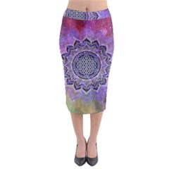 Flower Of Life Indian Ornaments Mandala Universe Midi Pencil Skirt
