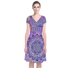 Flower Of Life Indian Ornaments Mandala Universe Short Sleeve Front Wrap Dress