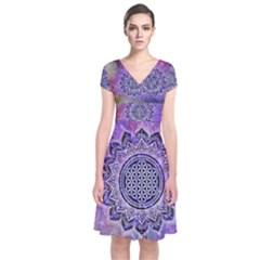 Flower Of Life Indian Ornaments Mandala Universe Short Sleeve Front Wrap Dress