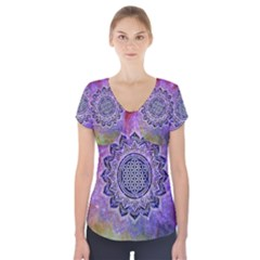 Flower Of Life Indian Ornaments Mandala Universe Short Sleeve Front Detail Top
