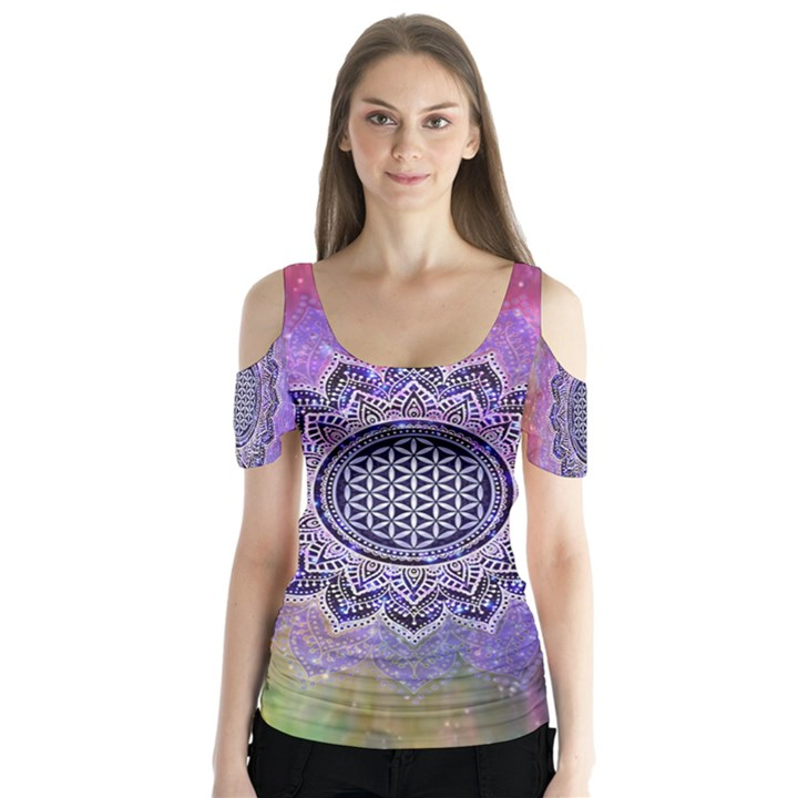 Flower Of Life Indian Ornaments Mandala Universe Butterfly Sleeve Cutout Tee
