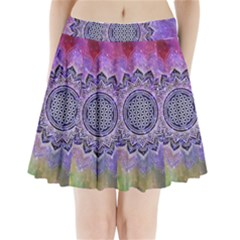 Flower Of Life Indian Ornaments Mandala Universe Pleated Mini Skirt