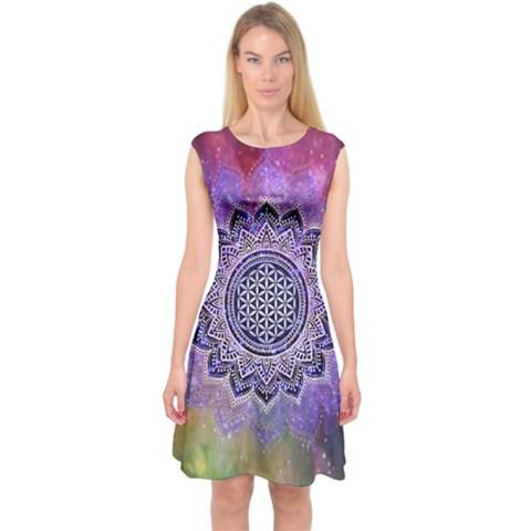Flower Of Life Indian Ornaments Mandala Universe Capsleeve Midi Dress