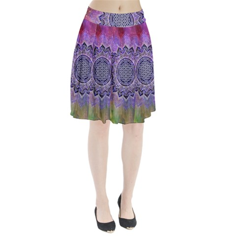 Flower Of Life Indian Ornaments Mandala Universe Pleated Skirt