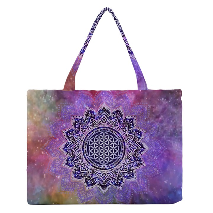 Flower Of Life Indian Ornaments Mandala Universe Medium Zipper Tote Bag