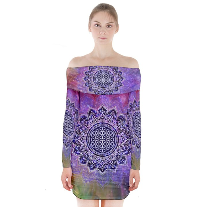 Flower Of Life Indian Ornaments Mandala Universe Long Sleeve Off Shoulder Dress