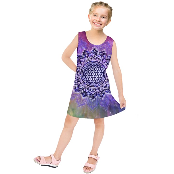 Flower Of Life Indian Ornaments Mandala Universe Kids  Tunic Dress