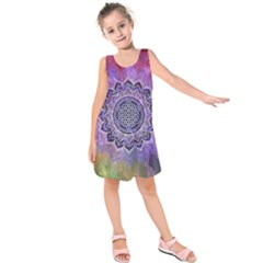 Flower Of Life Indian Ornaments Mandala Universe Kids  Sleeveless Dress