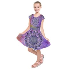 Flower Of Life Indian Ornaments Mandala Universe Kids  Short Sleeve Dress